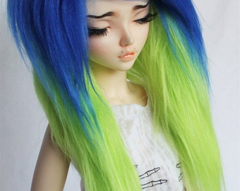 """BJD MSD Minifee wig 7"""" 1/2 royal blue 1/2 lime green long in front wig monstrodesigns"""