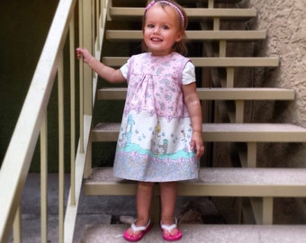 Precious Moments Pink Vintage Print Toddler Girl Sleeveless Shift Dress Sz 2t