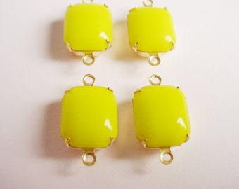 Vintage Yellow Octagon Stones in Brass Prong Settings 2 Rings Closed Backs 12x10 - 4 Pieces