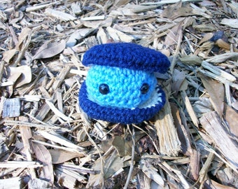 Plush Blue Clam and Clamshell - Crocheted Clam Toy Ocean Animal - Seaside Softie - Amigurumi Clam - Ready-to-Ship