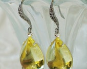 50 0/0 OFF use COUPON Jonquil Yellow Bombe Pear Earrings, transparent glass jewel