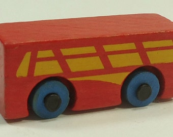 Tiny Wooden Red Bus