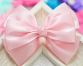 NEW! Set of 2pcs handmade Satin Bows--pink/pink (GR1135)