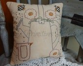 Decorative Garden Can Pillow, Hand Stitched Pillow, Watering Can, Bees, Flowers, Bird, COSOFG
