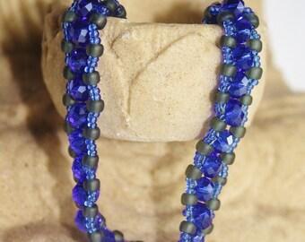 Blue Crystal Rondelle Bracelet