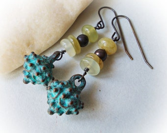 Erosion, Earrings Nephrite Jade verdigris patina aged sea object distressed metal copper oxidized brass steampunk long dangle steam punk