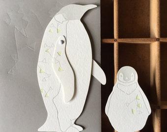 letterpress south star Penguins paper toy