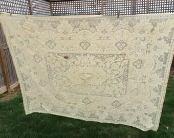 Vintage Ecru Older Lace Cotton Tablecloth