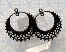 Filigree Hoop, Matte Black, Trinity Brass, 2 Pc. MB48