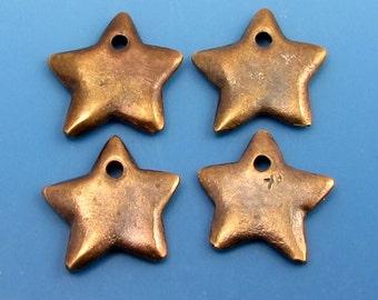 Antique Brass Star Charm, 18 mm, 4 Pieces, M358