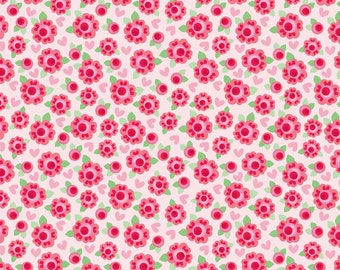 1 yard FLANNEL Lovey Roses Red Pink flowers fabric from Riley Blake