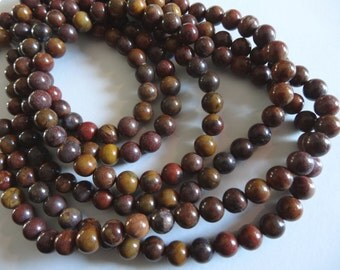 16 inch Strand Natural Tiger Jasper 6mm Round Stone Beads A686