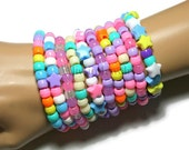Pastel Kandi Bracelets, Fairy Kei Singles, Rainbow, Pastel Goth Rave Jewelry