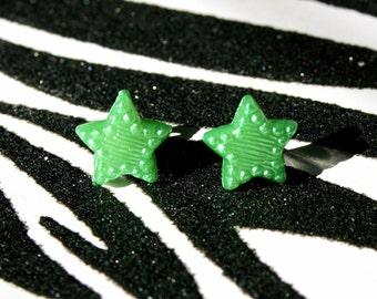 Green Star Earrings, Metallic Celestial Studs, Minimalist, Kitsch Kawaii