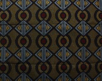 Geo Afriq Ankara Print- Blue, Maroon and Yellow African Print,  African Wax Print, By the Yard