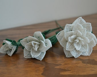 3 french beaded flowers handmade roses different sizes white opal color