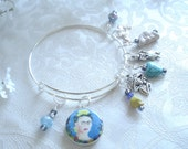 Frida Kahlo with Blue Background Expandable Stackable Charm Bracelet