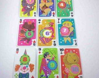 Vintage Over Sized Circus Crazy Eights Character Children's Playing Cards Set of 9