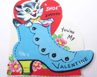 Vintage Unused Children's Novelty Valentine Greeting Card with Adorable Grey and White Cat in Blue Shoe