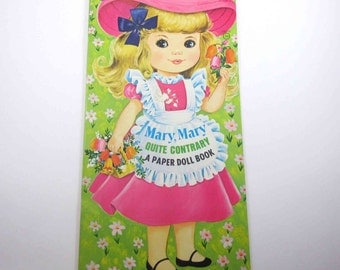 Vintage 1970s Mary Mary Quite Contrary Paper Doll Book for Children Uncut by Artcraft