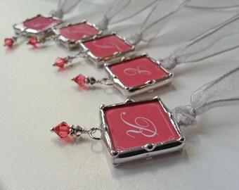 Set Of 5 Bridal Party Bouquet Charm, Wedding Charm, Monogram Wedding Charm, Photo Pendant, Personalized Wedding Pendant, Bridesmaid Gift