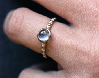 Blue to Green Tourmaline Cabochon Ring 14k Yellow Gold Setting, size 8, Low Profile Right Hand Ring