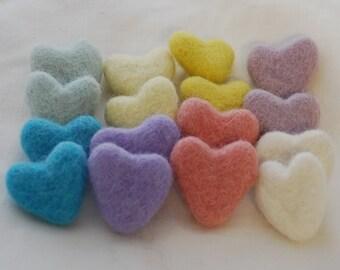 3cm 100% Wool Felt Hearts - 16 Count - Pastel Easter Colors