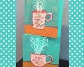 Coffee & Tea Mug Set - Mixed Media Collage on 6x6 Artist Panel Boxes