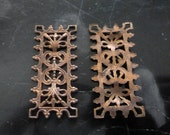 "Vintage Brass Filigree, 1940s Intricate Ornate Rectangular Connectors, Unplated Jewelry Findings, 30x14mm (approx. 1.2 x .5""), 2 pcs. (C25)"