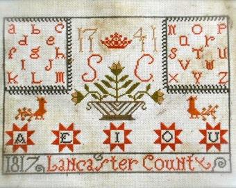 Lancaster County Alphabet Sampler - PAPER PATTERN - from Notforgotten Farm