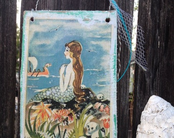 Vintage Mermaid white aqua blue turquoise wood sign shells glitter Yummy