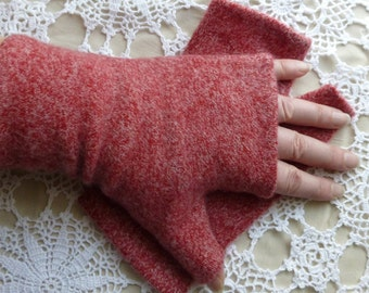 Red Upcycled Warm and Cozy Medium - Large Winter Cashmere Fingerless Gloves