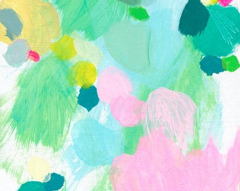 NEW! abstract fine art print . pink n aqua 2 . a4 - a2, three sizes . free shipping within australia