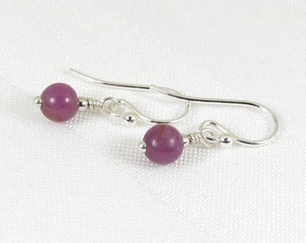 Very Tiny Ruby and Sterling Silver Earrings