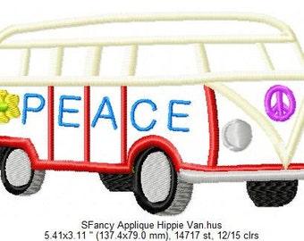 SFancy Applique VW Hippie Van 5 x 7