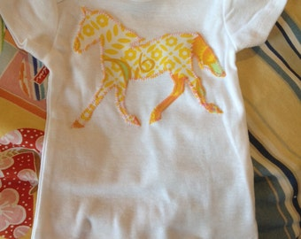 Yellow Floral Pony Baby Onesie Bodysuit size 3 to 6 months