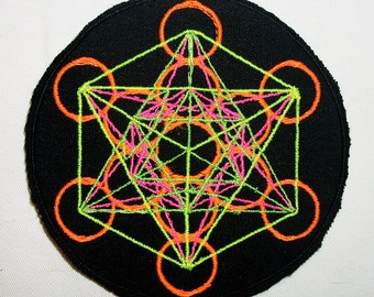 Neon Metatron Cube Patch  Handmade Embroidery  Design By Psysub  Sacred Geometry Iron on Sew on Fabric Patch  Psychedelic Rave Festival Wear