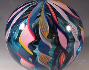 GIANT Filigrana Blown Paperweight - Mentuck Art Glass FREE SHIPPING