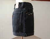 vintage 1990s / Levis / distressed denim / black denim shorts / high waist shorts / studs /  grunge / size S / levis 631