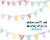 Bunting Clipart Banners - Circus Stripes Pastel - Digital Bunting Banners - INSTANT DOWNLOAD - 30 banners - Personal & Small Commercial Use