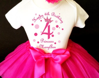 Princess Crown Light & Hot Pink 4th Girl Birthday Tutu Outfit Custom Personalized Name Age Party Shirt Set