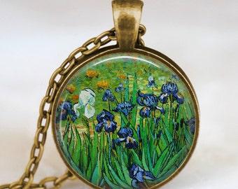 Van Gogh irises necklace , van gogh irises flowers necklace , Van Gogh blue irises flower pendant, Van Gogh jewelry, vintage van gogh art