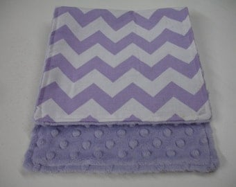 Lavender Medium Chevron Baby Burp Cloth with Minky