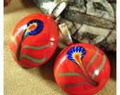 3 Ceramic flower pendants, red ceramic flower pendant, flower pendant