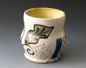 Tea Bowl with Leaf Motif, Handmade Ceramic Tea Cup, Drinkware, Tea Cups