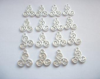10 Triskelion Silver Tone Charms