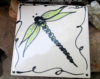 4x4 Dragonfly ceramic tile rustic dragonflies tiles coasters or mosaic tile order individually choose colors custom tile mosaic supplies