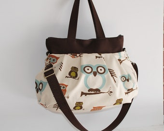 Cross Body Pleated Bag (SMALL or MEDIUM) w/ Adjustable Strap - Cute Owl