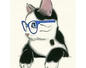 "Cat print cat decor  Miss Nancy  -  4"" X 6""  print - 4 for 3 SALE"