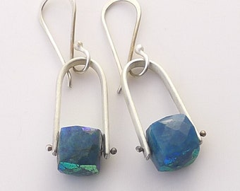 Simple Silver Stirrup Earring with Chrysocolla - E1770